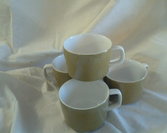 On Sale Set of 4 Mikasa Mediterrania Made in Japan Green and White Coffee Serving Cups