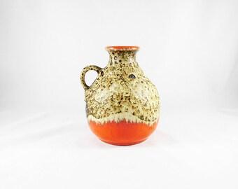 Vintage West Germany Fat Lava Pottery Pitcher Vase