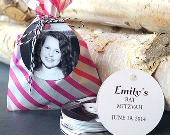Bat Mitzvah Favor Tags (Round Tags)