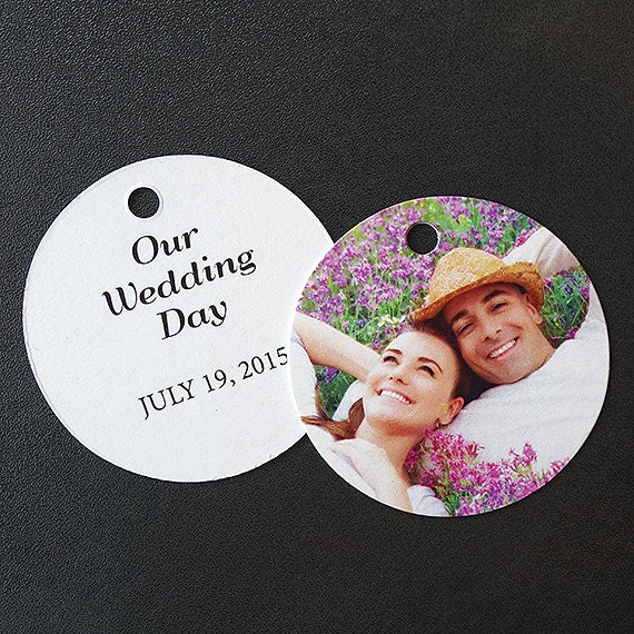 Wedding Favor Tags Messages : 100 Wedding Favor Tags - Round with Photo and Message