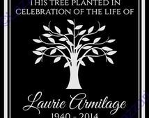 "Personalized Tree Planting Ceremony Dedication Memorial 12""x12"" Custom Engraved Granite Headstone Grave Marker Plaque Sign"