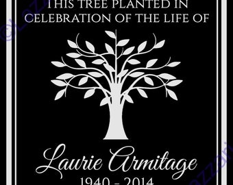 "Personalized Tree Planting Ceremony Dedication Memorial 12""x12"" Custom Engraved Granite Headstone Grave Marker Plaque Sign"