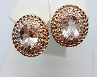 2.44ctw Oval Morganite and Diamond 14kt Rose Gold Earrings