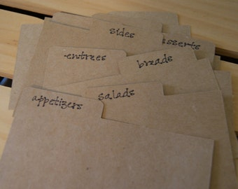 Recipe Card Dividers. Classic Cards.
