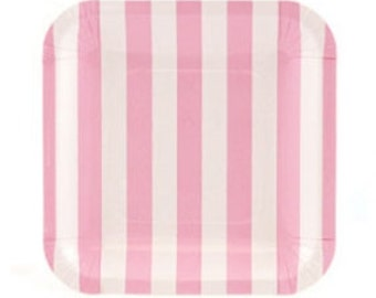 Pink and White Stripe Dessert Paper Plates