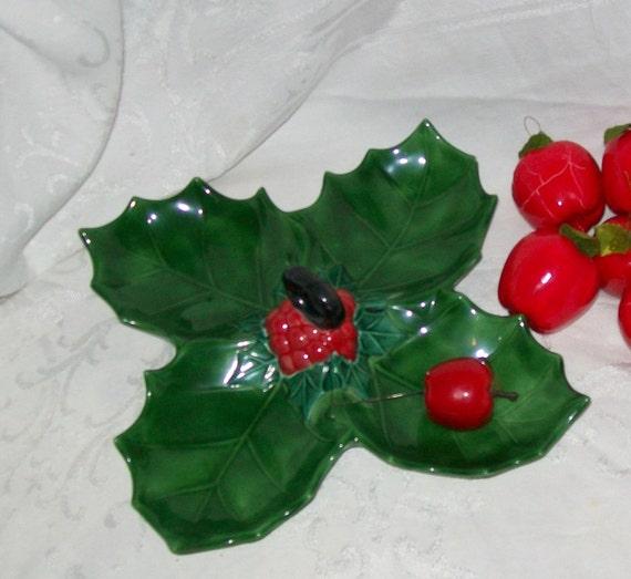 Vintage Christmas candy dish serving dish green holly dish