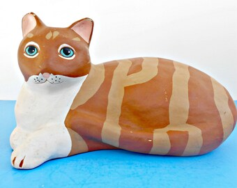 Folk Art Cat, Striped Tabby Cat, Paper Mache (?), Resin Kitty (?), Vintage Feline, Tan and Brown Strips, White Chest Kitty, Hand Painted