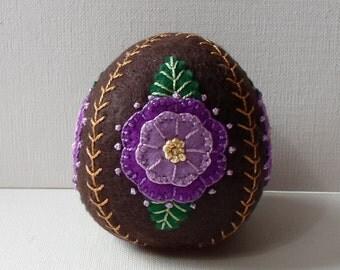 Hand Made Felt Dark Chocolate Fuchsia Egg Ornament