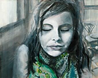 Portrait Painting Art Print, Figure Wall Art, Black and White, Modern Portrait, thepaintedgrove