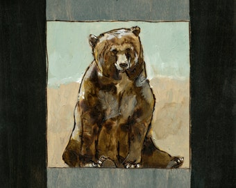 Bear Art Print, Brown, Grizzly, Bear Painting, Modern Wall Art, thepaintedgrove 16 x 20