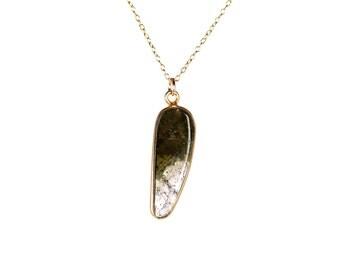 Tourmaline necklace - watermelon tourmaline - healing crystal - a bezel set tourmaline slice hanging from a 14k gold vermeil chain