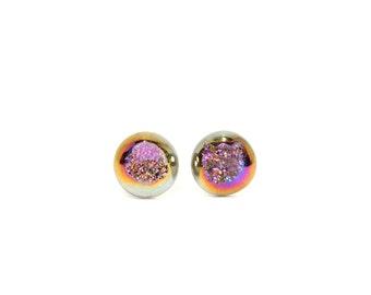 Druzy earrings - geode stud earrings - druzy studs - a set of titanium purple geode druzies on sterling silver posts