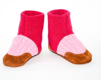 Baby Cashmere booties, Toddler Cashmere Shoes, Baby Cashmere Slippers, Soft Leather Soles. Sizes Baby 0-12M, 6-18M & 12-24M