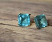 Large glam gem earrings, faux gemstone, vintage rhinestone, aqua marine, Statment earrings, stud earrings, big earrings, nickel free
