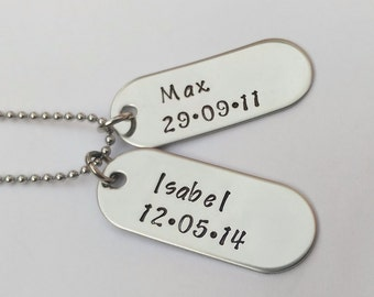 Mens personalised dogtag pendant necklace - handstamped - mens jewellery jewelry - dad daddy present gift - childrens names and birthdate
