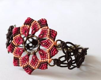 Macrame mandala flower textile bracelet boho red brown