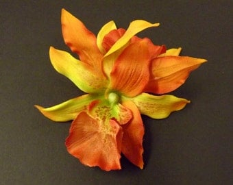 Autumnal Orchids hair flower. Rockabilly pin up style Halloween hair accessory.