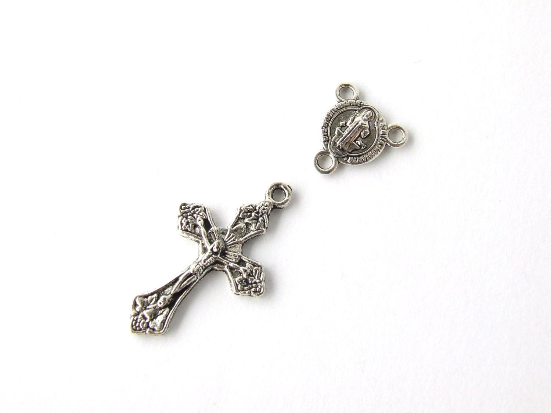 Catholic Rosary Parts Set Of 2pcs Small Crucifix With Grapes