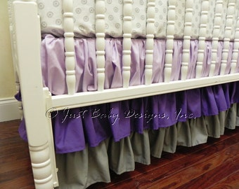 Lavender, Purple, and Gray Ombre 3 Tiered Ruffle Crib Skirt