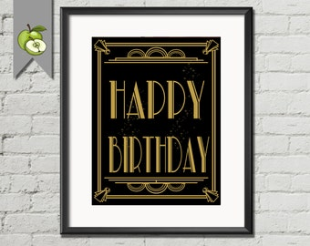 Great Gatsby, 1920's Art Deco, style, Happy Birthday sign, Art Deco, DIY printable, birthday party, Birthday sign, Download, AD2