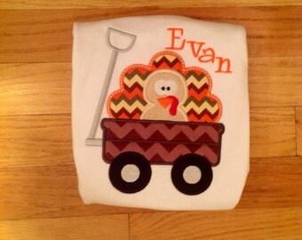 Thanksgiving turkey and wagon applique shirt
