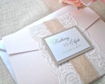 Rustic Elegance Burlap and Lace Blush Pocket Wedding Invitation (NOT A SAMPLE LISTING)