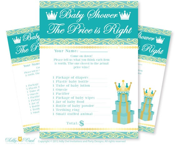 Royal Prince Price Is Right Game Printable Card For Baby