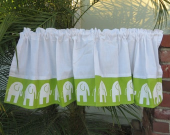 "White Lime Green Elephant Window Valance Size 52"" wide x 15"" drop"