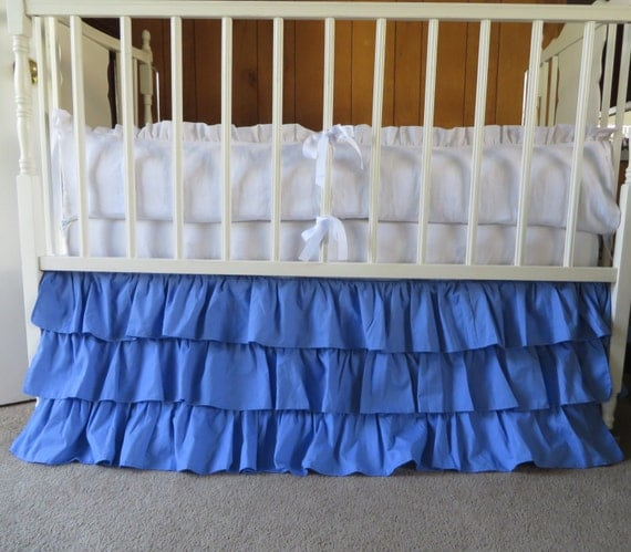 blue periwinkle blend ruffle crib skirt ready by
