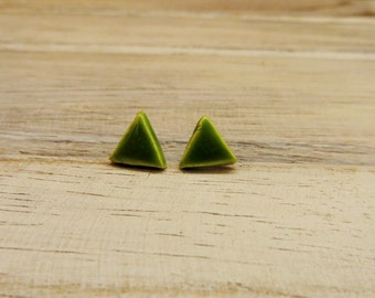 Unique Handmade Ceramic Triangle Stud Earrings