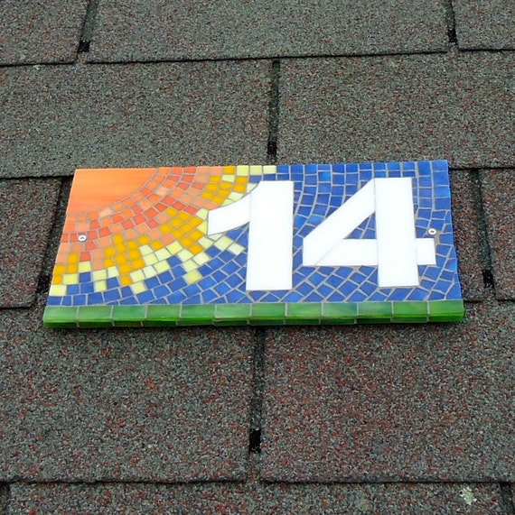 Decorative sun outdoor mosaic house number sign by liveinmosaics - Decorative house number signs ...