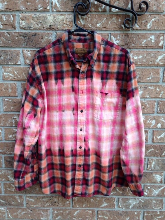Super soft grunge bleached flannel plaid shirt for Super soft flannel shirts