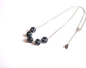 Black Geometric Necklace , Faceted  Wood Geometric Necklace,Geometric Jewelry
