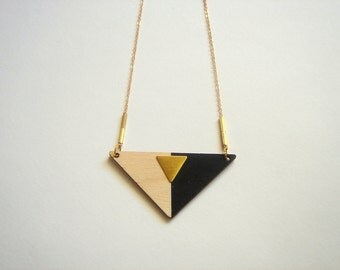 Hand Painted Geometric Necklace, Wood Triangles Necklace,Wood Mint Necklace,Geometric Jewelry