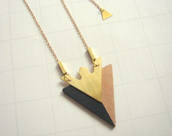 Wood Triangles Necklace, Geometric Jewelry