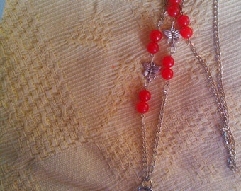 Necklace style  pocket watch with semi precious ruby and butterfly accented chain