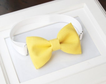 Light yellow bow-tie for baby toddler teens adult - Adjustable neck-strap