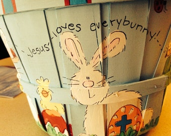 "Easter Basket w/handle-""Jesus loves everybunny""Boy Basket"