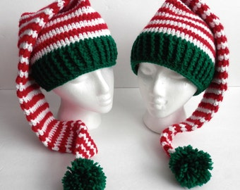 Crochet Handmade Christmas Elf Hat  Toque Striped Red White Green Kids Teens Adults Toddlers with Pom Pom