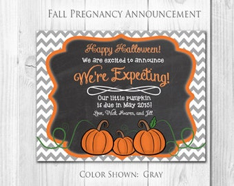 Pregnancy Announcement Card | Pumpkin, Halloween, Thanksgiving, Fall (4 Count and 4 Envelopes)