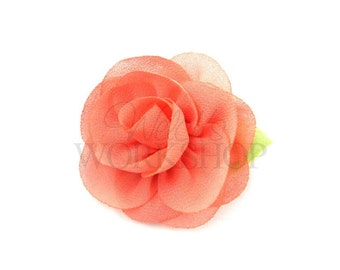 "Coral Peach - Set of 3 Chiffon 2"" Flowers with Leaf - CWL-006"