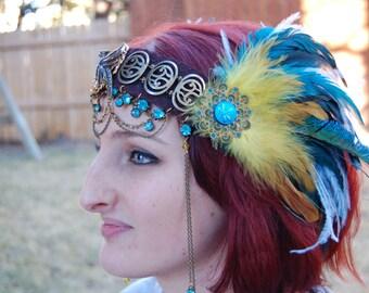 Festival/Blue and Gold Phenix Headdress