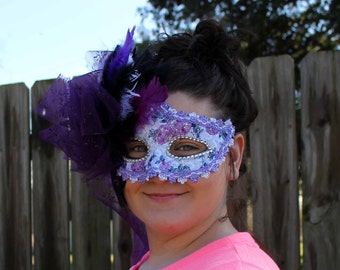 Fancy Plum/Purple/Lavender Handpainted Feathered Mardi Gras Mask, Masquerade Ball Mask, Venetian Mask, Carnival Mask