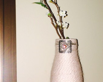 Yarn wrapped Glass Vase
