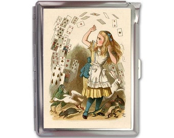Vintage Alice in Wonderland Metal Cigarette Case Lighter Holder