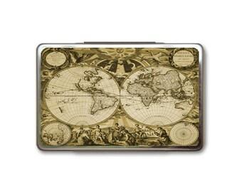Vintage World Map Metal Box Case