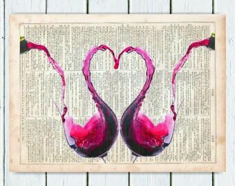 Red Wine Heart, Dictionary Art Print, Print on Dictionary Paper, dictionary page Wall Decor, Wall Hanging, Kitchen Decor, Wine Art