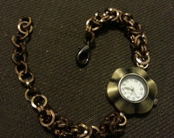 Bronze Square Ring Chainmail Watch Bracelet