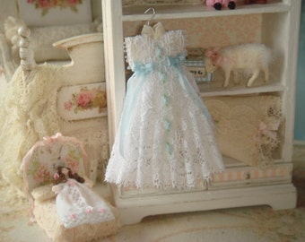 Dollhouse christening dress. 1:12 dollhouse miniature dress.