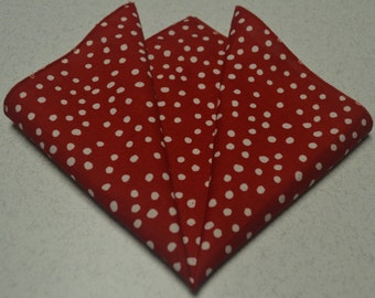 "14"" x 14"" Random Dots on Lipstick Red Pocket Square"